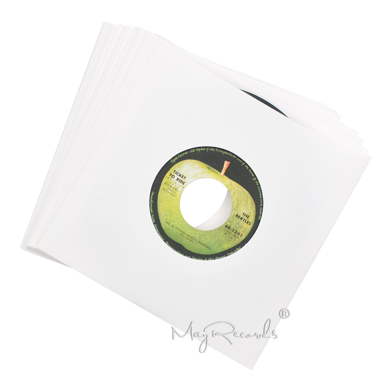 20 Heavyweight White Kraft Paper Inner Sleeves With Hole For 7'' Record Vinyl